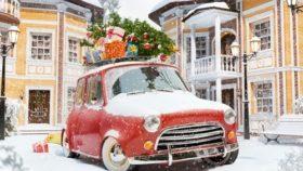 Weihnachtsbaum mit dem Auto transportieren